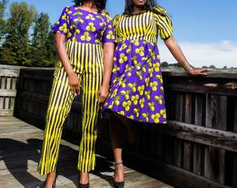 Bright Yellow and Purple Petals and Stripes African Print jumpsuit