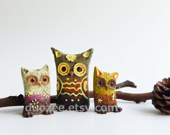 Miniature Fairy Garden, Three Owls Set, Miniature Owl, Owl Figurines, Owl Figures, Owl Decor