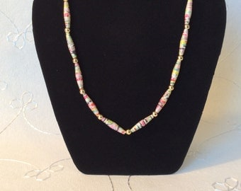 Paper Bead and Gold Bead Necklace on White Silky Cord, Paper Bead Jewelry