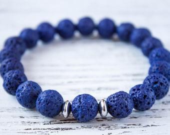 Lava Rock Bracelet Mens Lava Beads Mens Blue Bracelet Boyfriend Bracelet Office Bracelet Casual Man Bracelet Gift for Him Husband Bracelet