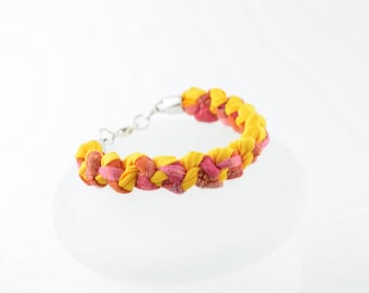 Coral bracelet, bracelet yellow, orange bracelet, braided bracelet, fabric, stylish, original, handmade