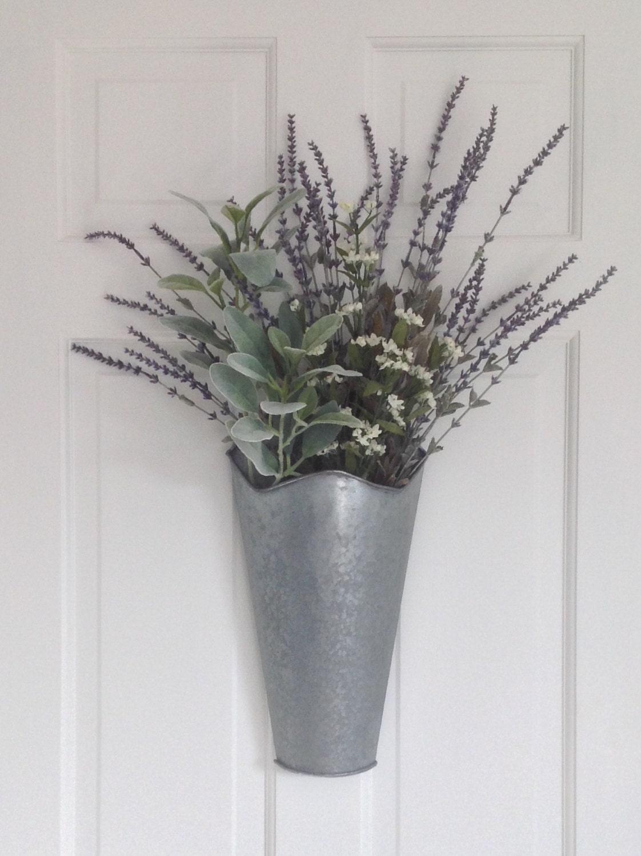 Artificial Lavender Arrangement In A Galvanized Cone Planter