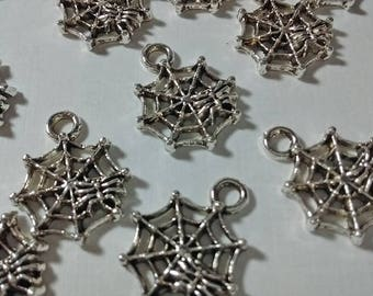 12 Spider Web Charms Pendents : Jewelry Making Findings - DIY - Spiderweb Charms - #198