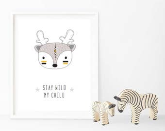 Stay Wild My Child - Tribal Prints - Changeable Characters
