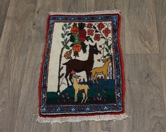 Cute Animal Design Tribal Tiny Shahreza Persian Rug Oriental Area Carpet 1'4X2'