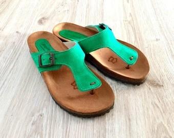 Green Women Cork and Leather Sandals, Cork Sole Platform Slides,Summer Shoes, Comfortable Sandals various colors,Comfort Fit