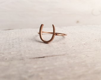 Horseshoe Ring Rose Gold | Stacking Ring with Horseshoe Titanium with Rose Gold Plated Jewellery