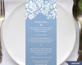 "Printable Floral Damask Blue Wedding or Event Menu Card, Rustic 4"" x 9.25"" Card Template - Editable PDF, Instant Download"