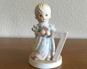 Vintage Lefton China Christopher Collection Seven Year Girl Figurine- Birthday Girl Figurine