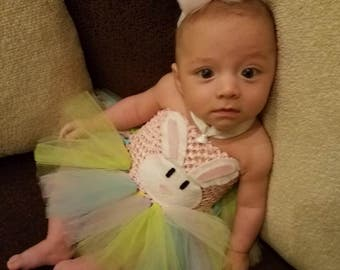 Easter Bunny Tutu Dress With Your Choice Of Matching Bunny Ears Tulle Poof Headband or Bow.