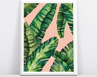 Tropical Leaves Print, Tropical Leaves, Banana Leaves, Tropical Printable Art, Palm Digital Print, Palm Wall Decor, Wall Art, Palm Printable