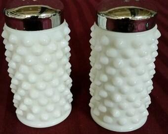Fenton Milk Glass salt and pepper set. Hobnail pattern.
