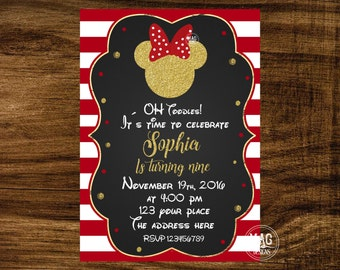Minnie Mouse Invitation - Minnie Mouse Invitation Red - Red and Gold Minnie Mouse Birthday Party Invitation. Digital File.