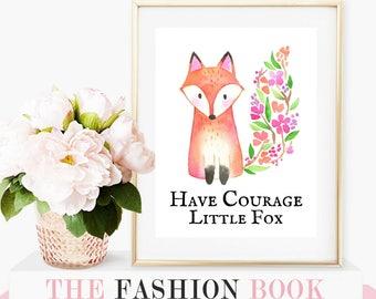 forest animals, watercolor animals, nursery decor, woodland nursery, nursery decor, fox nursery decor, wall art, fox print, woodland animals