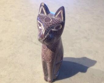 Primitive Carved Stone Cat Figurine Vintage