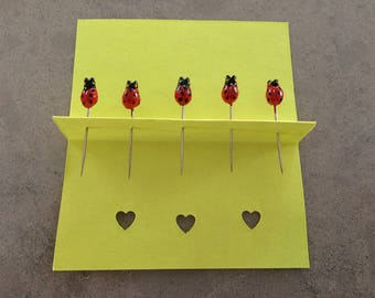 Ladybug Sewing Quilting Straight Pins Lot of 5 Vintage