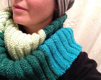 Hand-Made Knit Wrap Scarf - Multi-Colour - Green/Yellow/Blue
