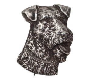Vintage Kerry Blue or Airedale Terrier Brooch Pin Sterling Silver limited Edition