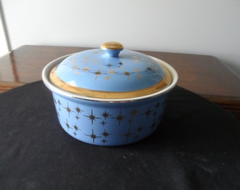 RARE Vintage Hall Gold Star Cadet Blue Round Covered Casserole Serving  Bowl with Lid   911