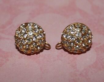 Vintage Rhinestone Earrings, Screw Back Earrings, Round Gold Tone Earrings, Vintage Earrings