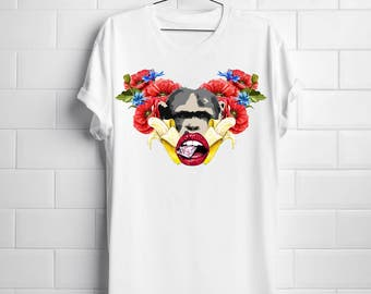 Monkey and Flowers Pop Design Collage White Women T-shirt