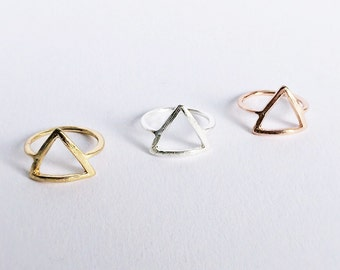 Ring ROSÉ GOLD, minimalistic triangle rings, ring in rose gold, friendship ring