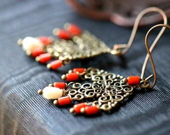 Theia Primitive Tribal Earrings | Red Coral and Pearl | Red Coral Filigree Cross Earrings Rustic Coral Chandelier Earrings | Redd Molly