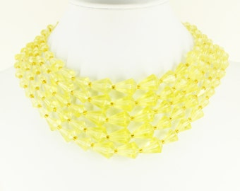 Ultra Mod 1950s 1960s Bib Necklace Yellow Choker - Big Statement Necklace - Estate Jewelry, Mad Men Beaded Necklace, Vintage Club Jewellery