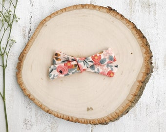 Rifle Paper Co- Rosa Floral (Peach) Bow - School Girl Bows - Baby Bow - Toddler Clip - Baby Headband - Handmade Bow- Pigtail Set