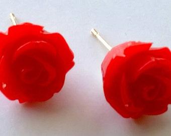 Renetta's Red Rose Earrings