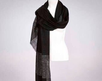 SUMMER SALE Ava Black Wool Shawl