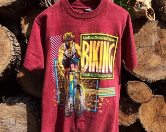"Vintage 90s ""Biking"" Graphic Shirt Sz L USED but Pratically New"