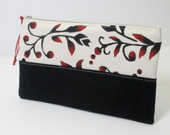 Hand painted cosmetic bag, mother's day gift, red and black zipper pouch, e-reader case, kindle case, painted clutch bag
