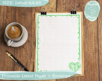Printable writing paper Printable letter paper Printable envelope Printable stationary Instant download Green frame with hearts