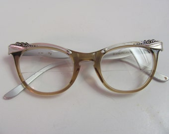 VINTAGE AMERICAN OPTICAL, 1950's or early 1960's American Optical Cat Eye Glasses, Detailed Aluminum Etched Vintage Glasses Frames, Cat Eye