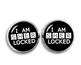I am Sherlocked Stud Earrings Sherlocked Earrings Sherlock Earrings Fangirl Fanboy