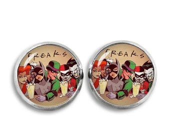 Freaks  Stud Earrings  Harley Quinn Batman Joker Little Siren earrings Superhero Earrings Fandom Jewelry Cosplay Fangirl Fanboy