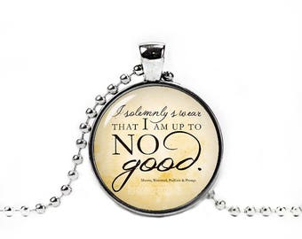 Harry Quote Necklace I solemnly swear that I am up to no good Pendant Fandom Jewelry Fangirl Fanboy