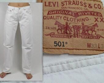 Levis 501 Jeans Vintage 80s American Denim Levi Strauss Hippie Bohemian Jeans High Waist White Jeans Levis Jeans Size W33 L32