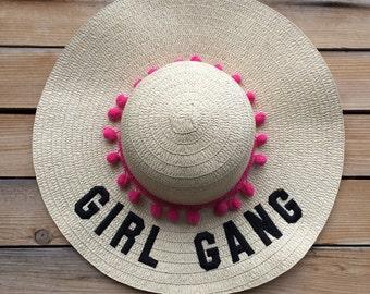 floppy hat embroidered - floppy beach hat - girl gang hat - mom gift - summer hat - hat - beach hat - straw hat - birthday - summer