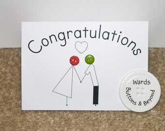 Couple Congatulations Button People Greetings Card
