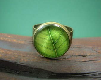 Green summer ring, Green leaf ring, Nature jewelry, Adjustable ring, Green ring, Tree leaf ring, Bronze ring, nature lover gift, glass