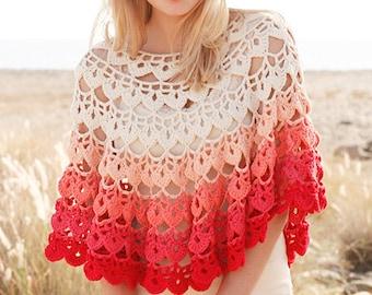 Handmade Red and White Cotton Crochet Shawl, Afghan Poncho, wrap, scarf, organic 100 percent soft cotton yarn
