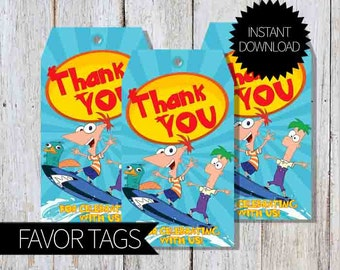 Phineas and Ferb Birthday Party PRINTABLE Favor Tags- Instant Download | Disney Channel | Agent P|