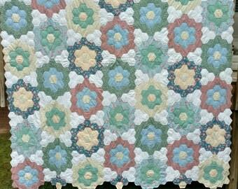 Honeycomb or Grandmother's Garden Quilt
