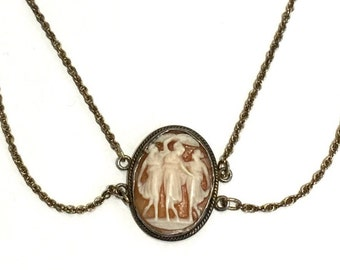 Three Graces Art Nouveau Cameo Necklace  Antique Hand Carved Cameo of the Three Muses Vintage Festooned Choker