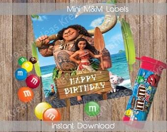 Moana M&M Tube Labels Moana MandM Labels Moana Birthday Labels Moana MandM Party Labels Moana Party Theme DIY Labels INSTANT DOWNLOAD