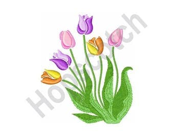 Tulips Flower- Machine Embroidery Design