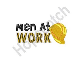Men At Work Hard Hat- Machine Embroidery Design
