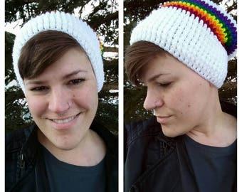 Rainbow Slouchy Hat - Slouch Hat - Slouchy Beanie - Chunky Hat - Winter Hat - Knit Hat - Gay Pride - Rainbow Pride - Lesbian - LGBTQ